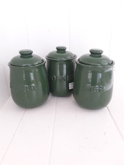 Preloved Forest Green Tea Sugar Coffee Cannisters