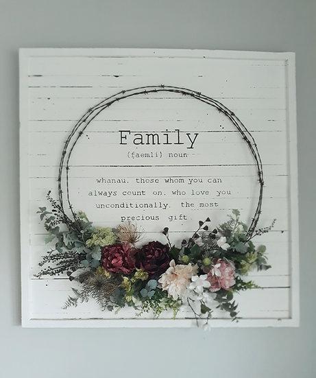 White 1.2x1.2m 'Family' Wreath Art