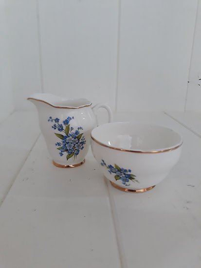 Liverpool Rd Pottery Milk and Jug Set Floral Blue