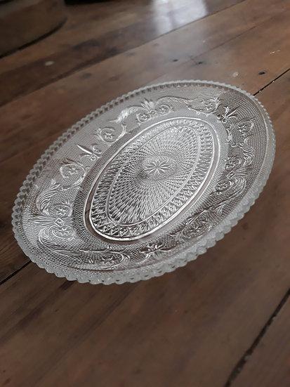 Pretty Vintage Glass Oval Plate