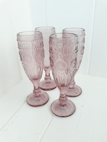 Pink textured glass vintage style heavy champagne flutes