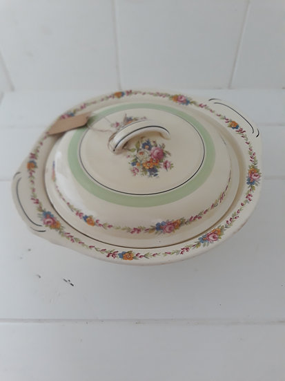 Vintage Floral and Cream Casserole Dish