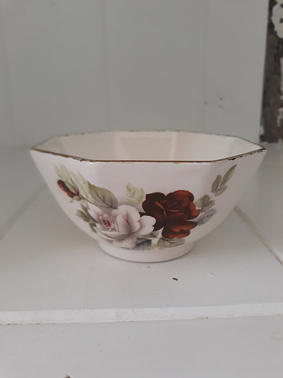 Vintage Pretty Cream Bowl Brown Flower with Gold Trim