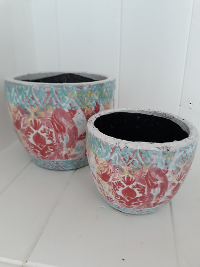 Large red and blue indoor pot