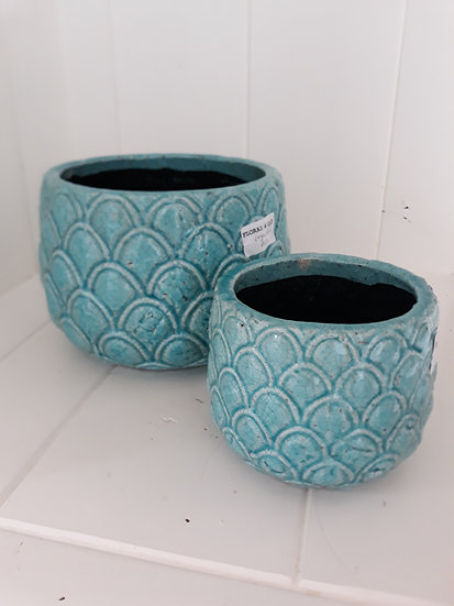 small pineapple turquoise blue indoor pot