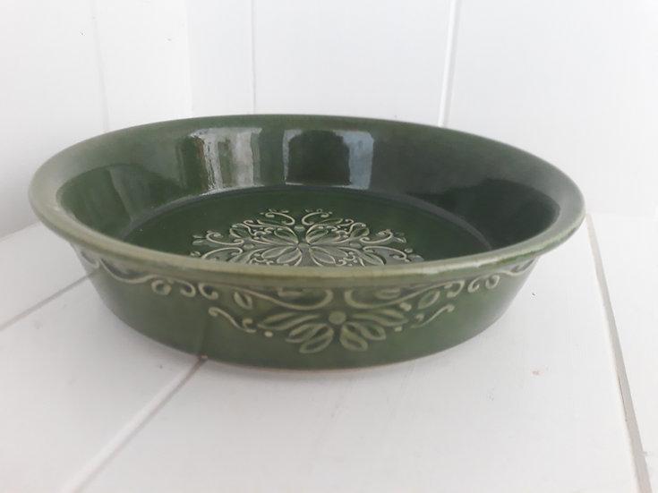 Olive Green Embossed Salad Bowl