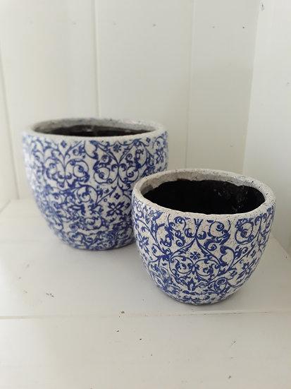 Large Blue Vine Curve Pot