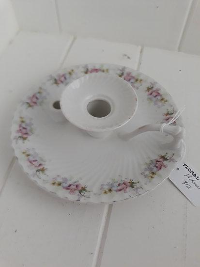 Floral ceramic wee willie winkie candleholder