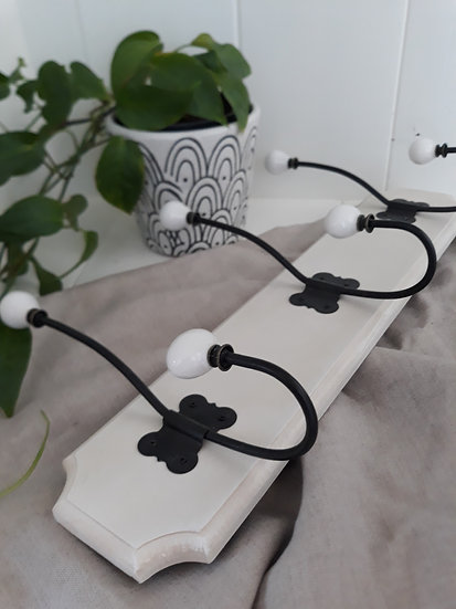 white french country 3 hook rack