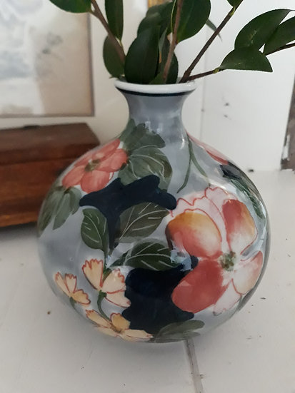 Floral blue coral vase