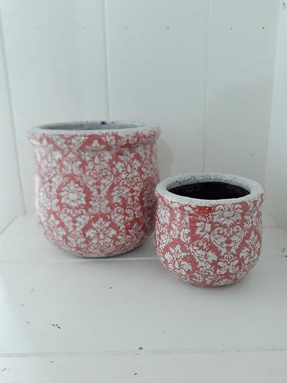 Small Baroque Red/Orange Pot