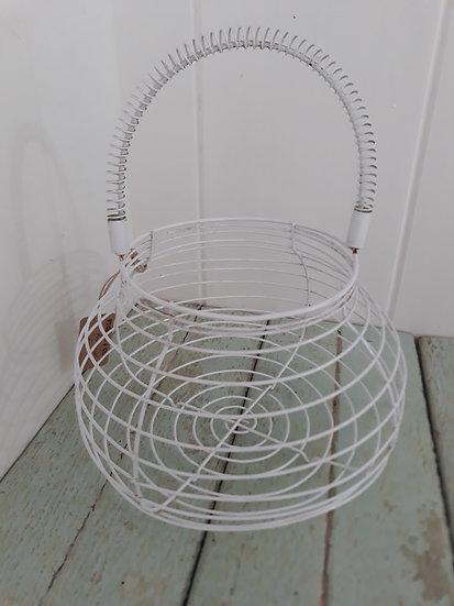 White metal egg basket