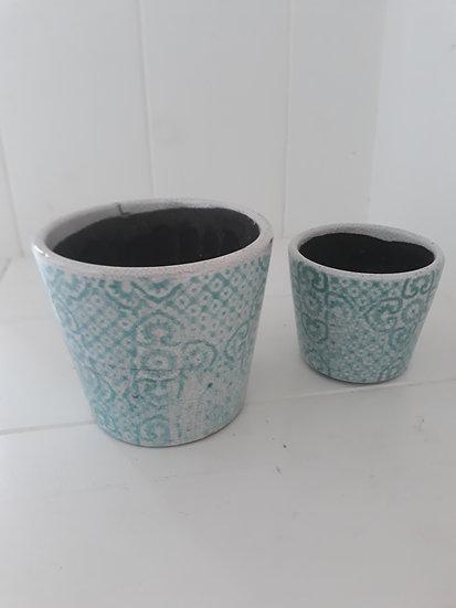 Large Aqua Moroccan Indoor Pot
