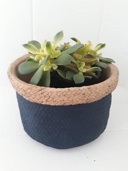 Terracotta Navy Basket Weave Indoor Pot