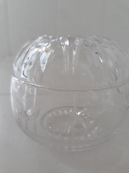 Vintage glass trinket bowl with lid