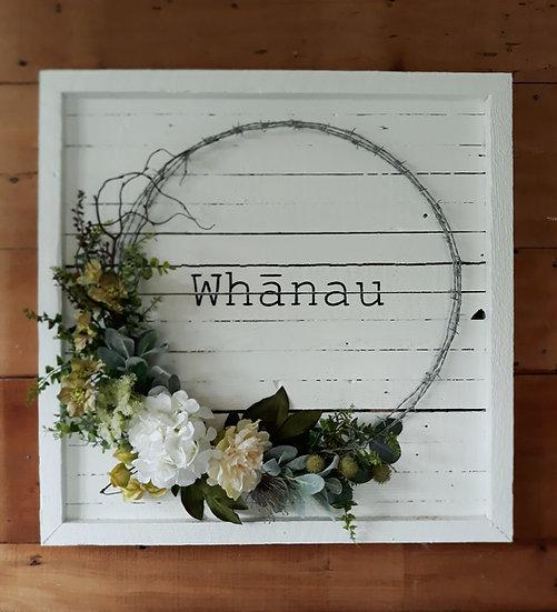 White Timber 'Whanau' 80 x 80cm Wreath Art