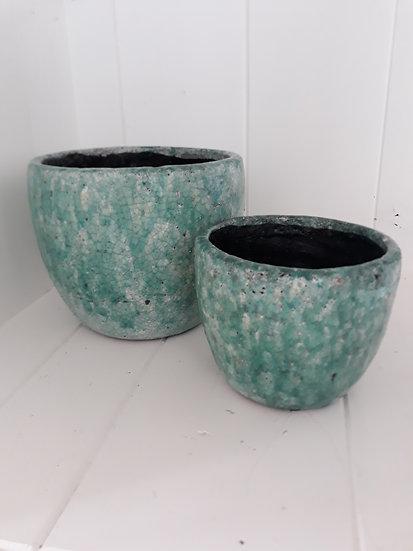 Small curve green indoor pot