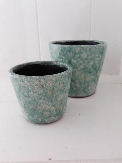 Small Green Terracotta Rustic Indoor Pot