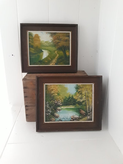 Vintage Landscape Paintings Set of 2
