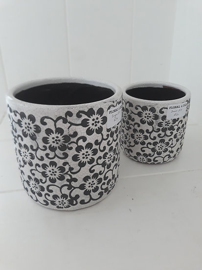 Large Black and White Daisy Indoor Pot