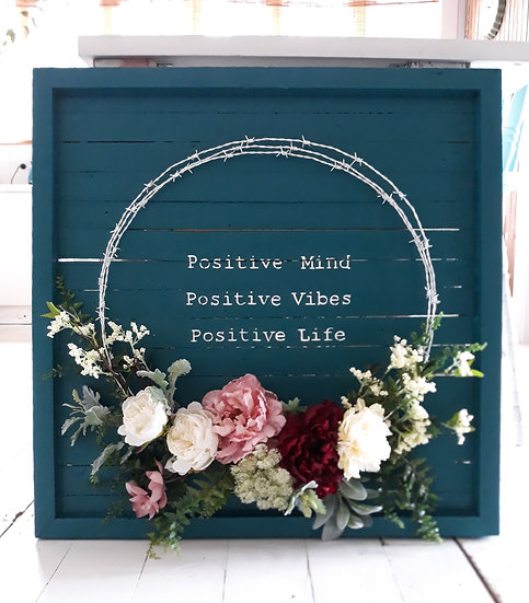 Teal Timber 80x80cm Positive Vibes Wreath Wall Art