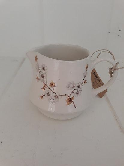 Vintage Small Cream Ceramic Jug with Blossom