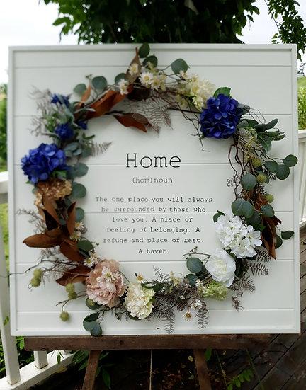 Large White 'Home' Full Wreath