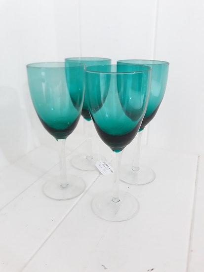 Set 4 Teal Wine Glasses