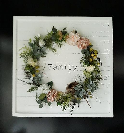 White Timber 'Family' 1.2m x 1.2m Full Wreath Art