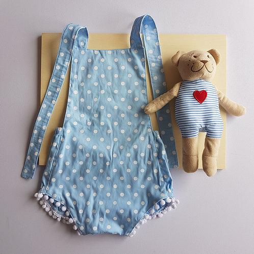 Body Azul Pom Pom - 12 meses