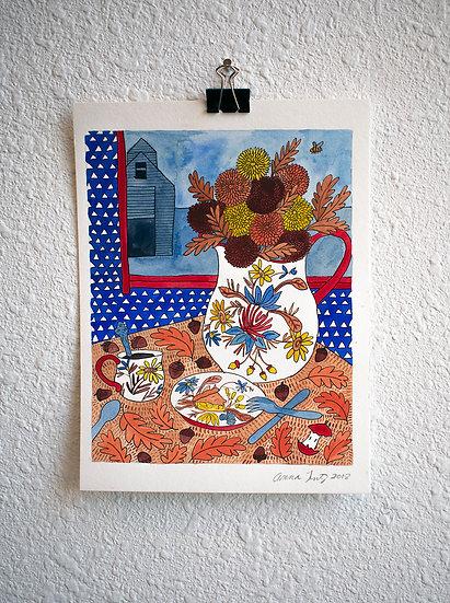 Fall Still Life Watercolor