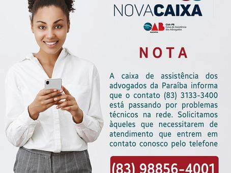 NOTA: CAA-PB informa telefone com problemas técnicos