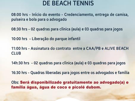 CAA-PB Informa: Cronograma de amanhã para a realização da Clínica de Beach Tennis