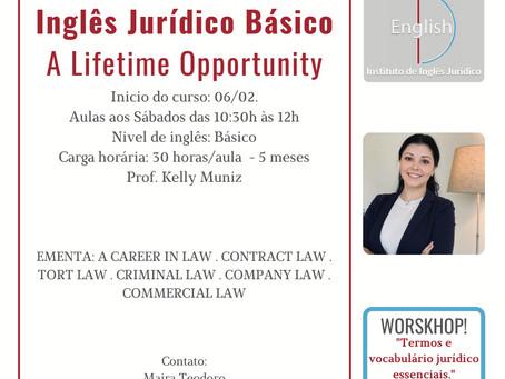 Instituto de Inglês Jurídico realizará workshop gratuito de inglês jurídico para filiados da CAA-PB