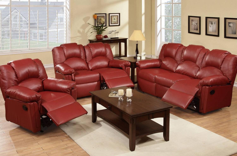 Red Burgundy Reclining Living Room Set 2pcs   K&B Home Furnishing