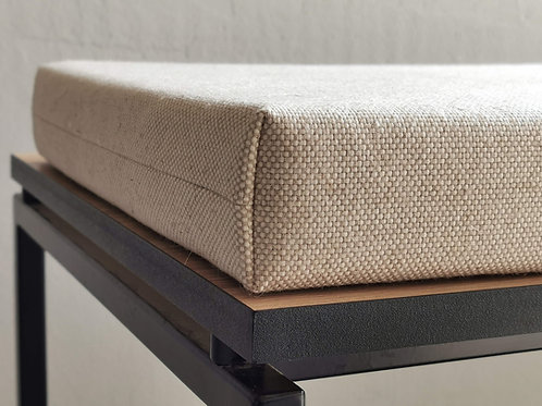 custom linen and cotton cushion for modern bench