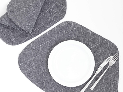 Blue Modern Placemats Wedge Shape And White Plate
