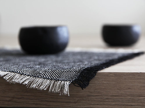 Modern natural linen black linen placemats