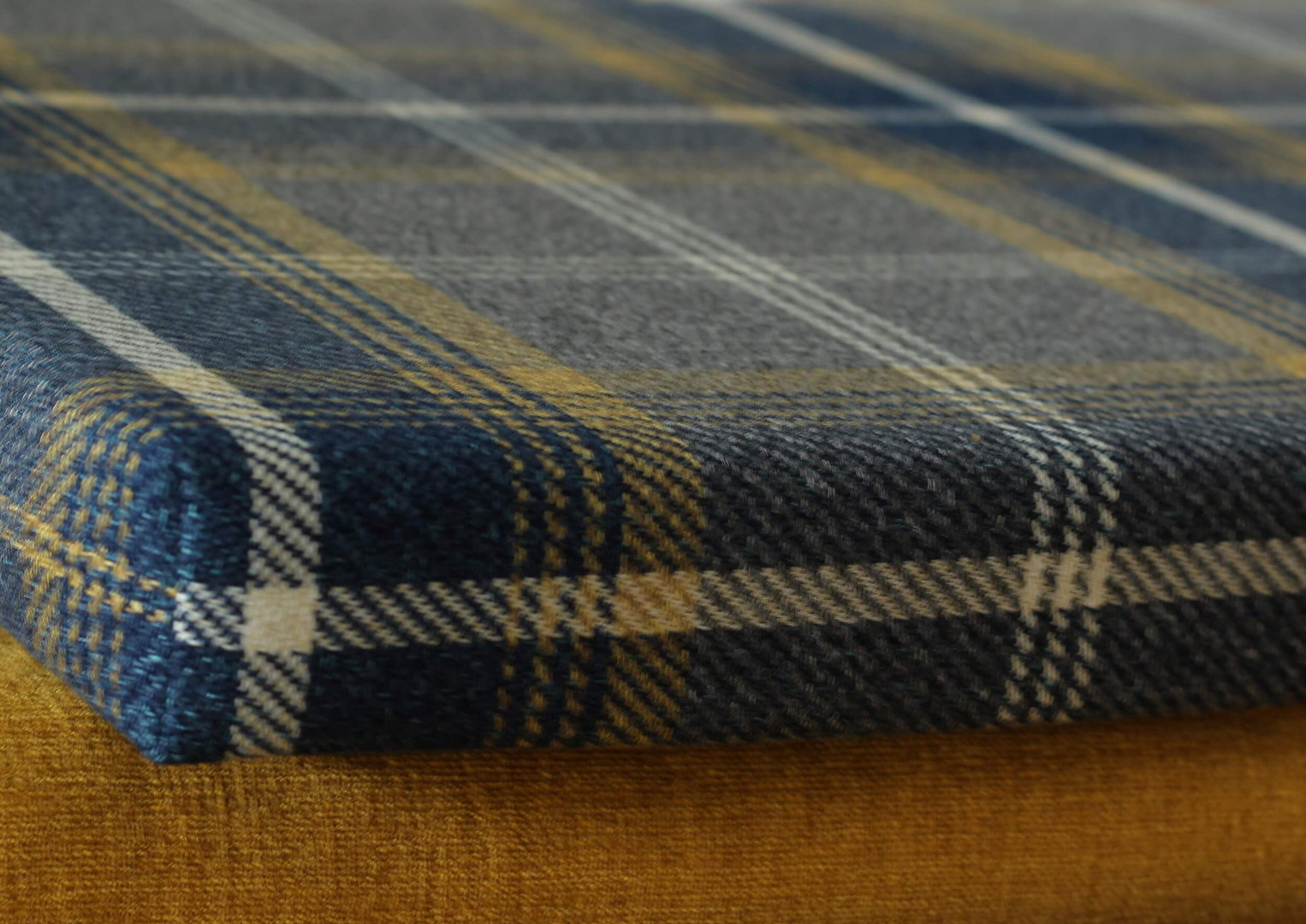 dark blue grey mustard plaid custom benc