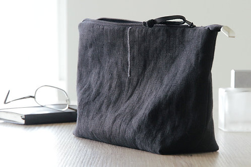 Black linen cosmetic toiletry bag for men