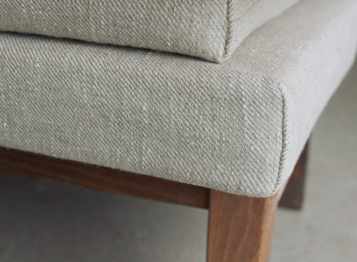 custom bench cushion in natural linen li