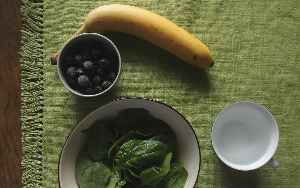 Vegetarial smoothie preparation and simple tablesetting