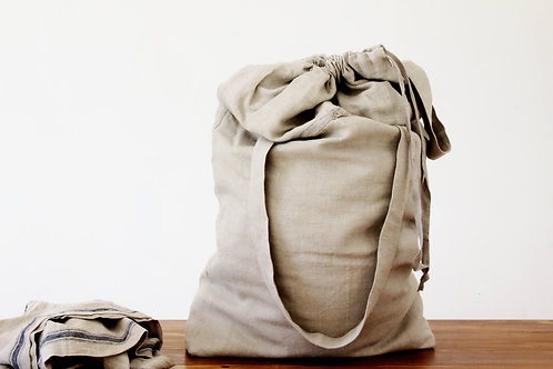 Extra large linen laundry bag with handles and strap