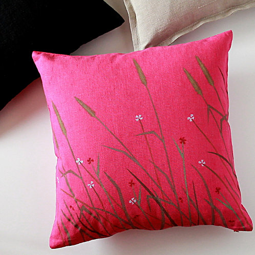 Fuchsia pink floral pillow cover