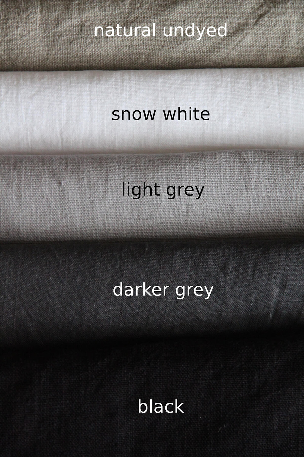 Comparison of black, gray, white and natural undyed linen colours