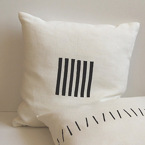 Black and white linen pillow cover