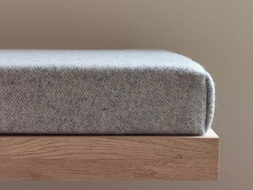 Gray wool custom bench cushion