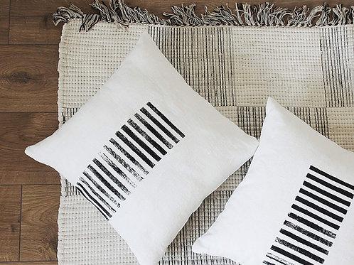 Black and white linen pillows