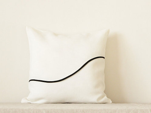 Black and white cushion cover one line