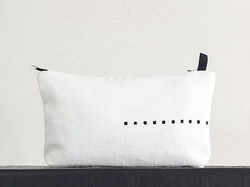 Black and white linen makeup travel bag